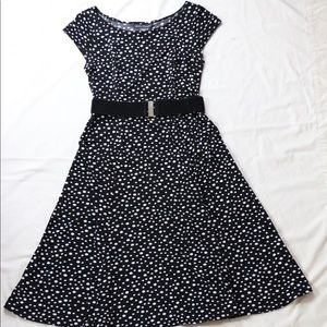Jessica Howard Polka Dot A-Line Cap Sleeve Dress